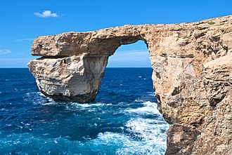 Natural arch - The Azure Window, Malta, which collapsed in 2017