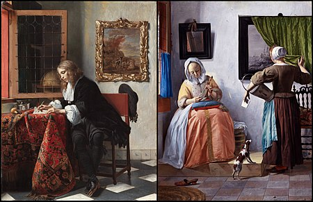Man Writing a Letter and Woman Reading a Letter