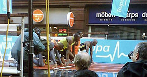150 metres - Usain Bolt lining up for his 150 m world best run in Manchester in 2009