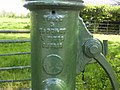 Manufacturer's Plaque on water pump, Baldwinstown, Co Dublin - geograph.org.uk - 1864949.jpg