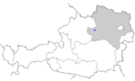 Map of Austria, position of Amstetten highlighted