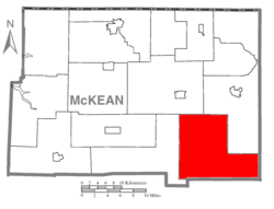 Map of McKean County, Pennsylvania highlighting Norwich Township