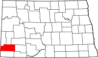 Map of North Dakota highlighting Slope County