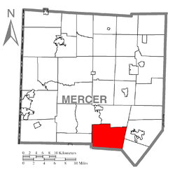 Location of Springfield Township in Mercer County