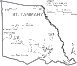 Map of St. Tammany Parish, Louisiana With Municipal Labels