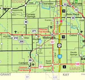 Sumner County, Kansas - Image: Map of Sumner Co, Ks, USA