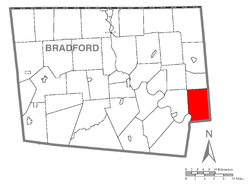 Map of Bradford County with Tuscarora Township highlighted