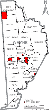 Map of Wayne County, Pennsylvania with Municipal Labels showing Boroughs (red) and Townships (white).