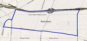 West Adams, Los Angeles - West Adams boundaries as outlined by the Los Angeles Times