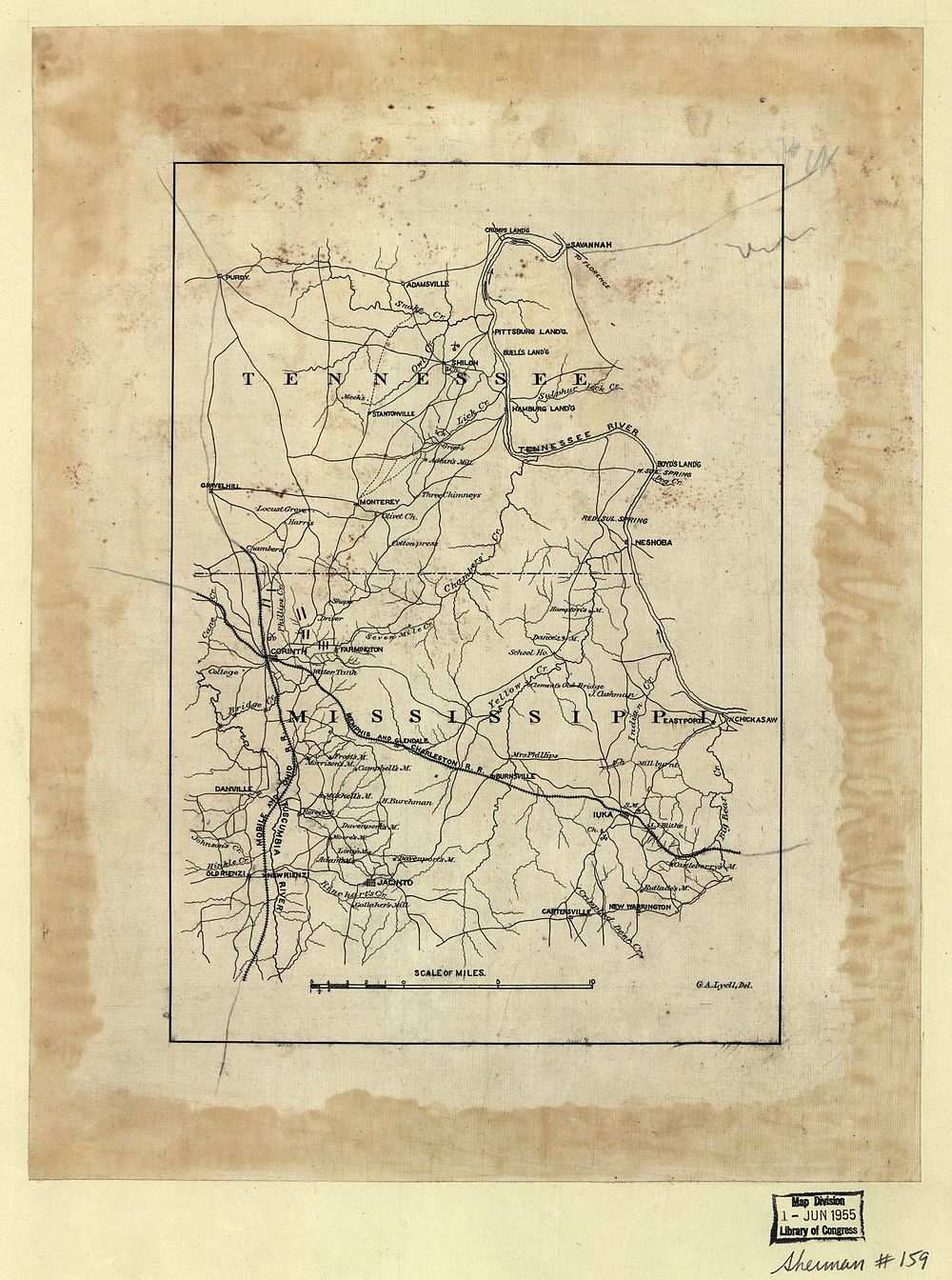 1862 map showing the location of Danville
