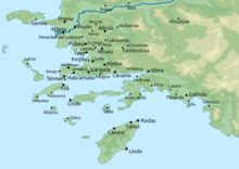 Map of ancient cities of Caria