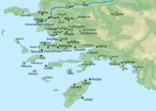 Carte des villes anciennes de Carie
