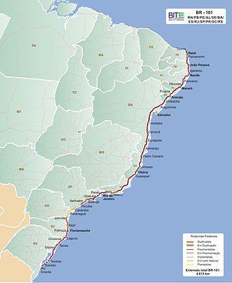 BR-101 - Image: Mapa da BR 101