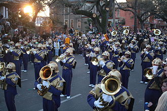 """St. Augustine High School (New Orleans) - The """"Marching 100"""" marching in Endymion."""