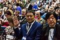 Mari Kotani, Takeshi Ikeda and Takayuki Tatsumi at the Hugo Award Ceremony at Worldcon 75 in Helsinki.jpg
