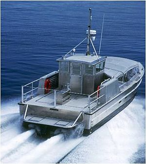 Maritime Prepositioning Force Utility Boat - Aft view of an MPFUB underway
