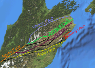 1888 North Canterbury earthquake - Map of the Marlborough Fault System showing location of the Hope Fault