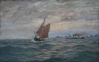 Deux Navires au large d'une côte de Scandinavie