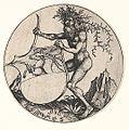 Martin Schongauer - Wappenschild mit Hirsch, von einem wilden Mann gehalten (L 103).jpg