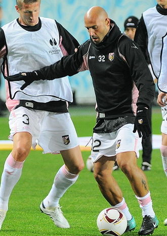 Dorin Goian - Goian (left) and Maccarone (right) training prior to the Europa League match against CSKA Moscow