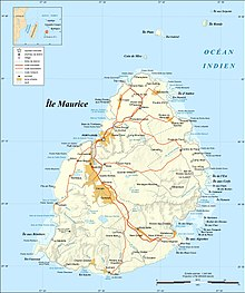 Mauritius is an island roughly 20 miles in diameter, about 500 miles east southeast of Madagascar. Its built up areas are in its northwest. Grand Port is a bay protected by reefs.