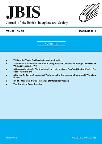 Journal of the British Interplanetary Society - Image: May June Front Cover