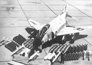12th Flying Training Wing - McDonnell USAF F-110A Spectre (Borrowed USN F4H-1 Phantom II) 12th Tactical Fighter Wing, MacDill AFB, Florida in 1964 on display showing weapons capability.