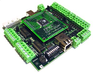 Single-board microcontroller - The Make Controller Kit with an Atmel AT91SAM7X256 (ARM) microcontroller.