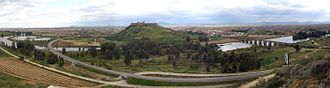 Medellín, Spain - Panoramic view of Medellín with Castle in the center and the urban area of the municipality.
