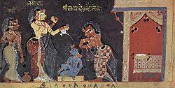 illustration of a Bhagavata Purana manuscript of ca. 1500, Yashoda bathing the child Krishna.