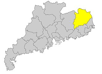 Hakka people - Meizhou Prefecture (in yellow) in Guangdong Province, where Xingning and Meixian are located.