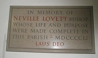 Neville Lovett - Image: Memorial to Bishop Lovett