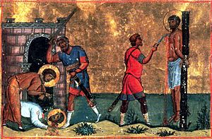 Trophimus, Sabbatius, and Dorymedon - Martyrdom of Sts. Trophimos, Sabbatios, and Dorymedon.  From the Menologion of Basil II.