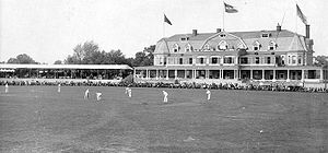 Merion Cricket Club - The fourth clubhouse (1892), backing onto Montgomery Avenue, was destroyed by fire in January 1896.