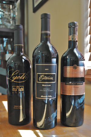 Three bottles of various Meritage Wines