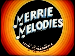 The classic Merrie Melodies title card from 1938.