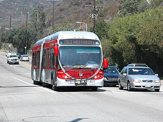 Metro Rapid - A NABI 60-BRT bus on Line 761 heading to Westwood