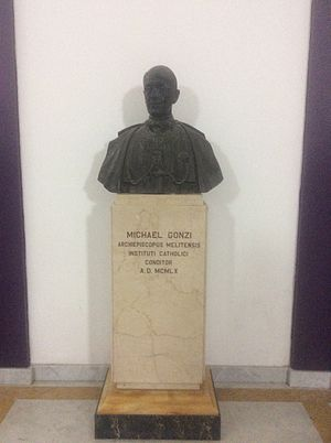 Mikiel Gonzi - Mikiel Gonzi monument at Catholic Institute in Floriana