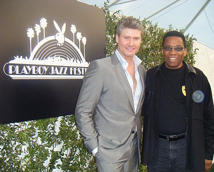 Michael Lington and Hancock at the entrance of the Playboy Jazz Festival Michael Herbie Playboy 2008.jpg