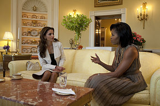 Queen Rania of Jordan - First Lady Michelle Obama hosts Queen Rania in the Yellow Oval Room, April 2009