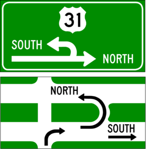 Michigan left - Two versions of signs posted along an intersecting road or street at an intersection. Top: most commonly used; Bottom: lesser-used variant.