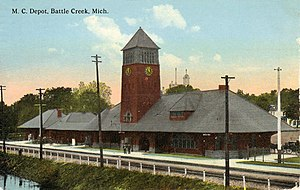 Calhoun County, Michigan - Image: Michigan Central Depot Post Card Battle Creek MI