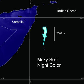 Somali Sea - Milky sea effect off the coast of Somalia in the Somali Sea.
