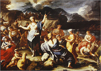 "History of music in the biblical period - 18th-century painting, ""The Song of Miriam,"" by Paulo Malteis, Italy. Celebration after crossing the Red Sea from Egypt"