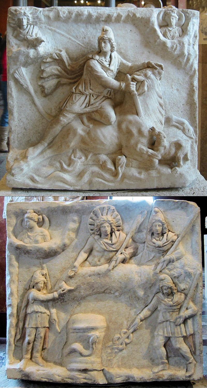 نقش میترا در پشت و روی یک کنده کاری متعلق به سده دوم یا سوم پس از میلاد.