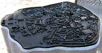 Münster - Bronze model of Münster's city centre