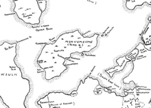 Hand-drawn map of Ford Island and surrounding area