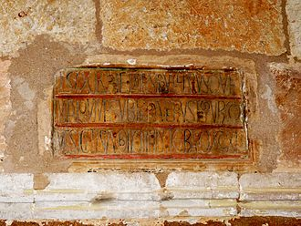 Aimery III of Narbonne - Inscription in the abbey of Huerta praising its founder, Pedro Manrique, and recording his death in 1202. Aimery visited the monastery that year to confirm his father's grants to it. The inscription may have been set up during his visit.