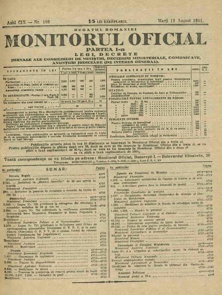 File:Monitorul Oficial al României. Partea 1 1941-08-12, nr. 189.pdf