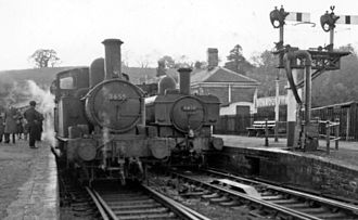 Wye Valley Railway - Monmouth (Troy) Station; the train on the right was for the Wye Valley line